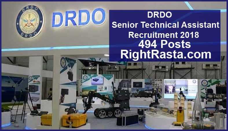DRDO Senior Technical Assistant Recruitment 2018
