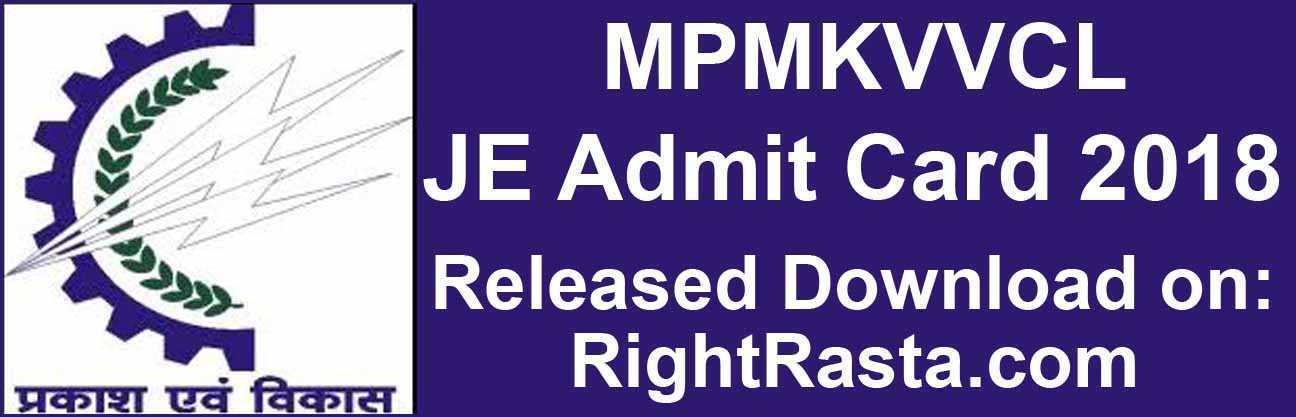 MPMKVVCL JE Admit Card 2018