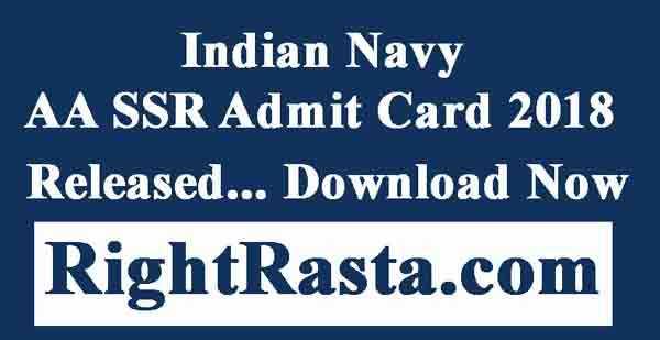 Indian Navy AA SSR Admit Card 2018