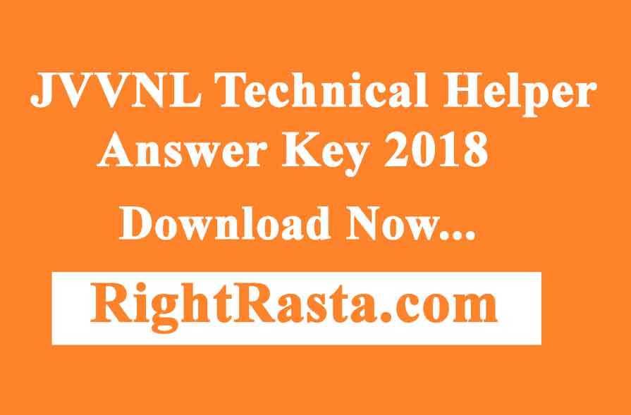 JVVNL Technical Helper Answer Key 2018