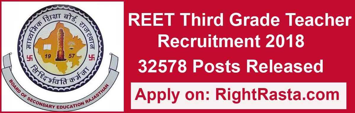 REET Third Grade Teacher Recruitment 2018