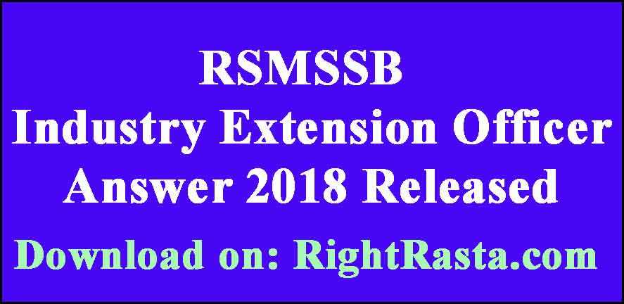 RSMSSB Industry Extension Officer Answer