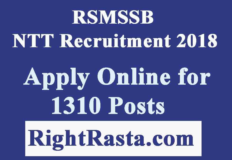 RSMSSB NTT Recruitment 2018
