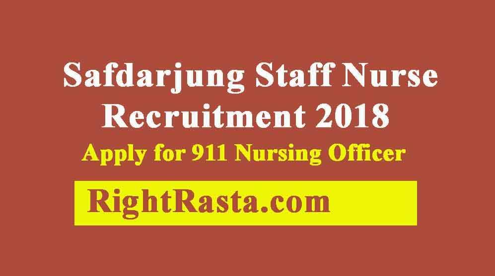 Safdarjung Staff Nurse Recruitment 2018