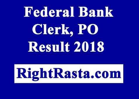 Federal Bank Clerk Result 2018