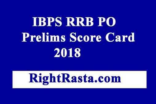 IBPS RRB PO Prelims Score Card 2018
