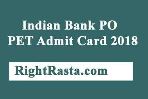 Indian Bank PO PET Admit Card 2018