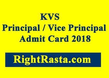 KVS Principal Admit Card 2018