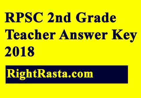 RPSC 2nd Grade Teacher Answer Key 2018