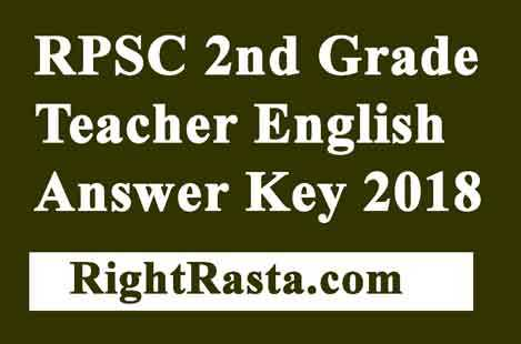 RPSC 2nd Grade Teacher English Answer Key 2018