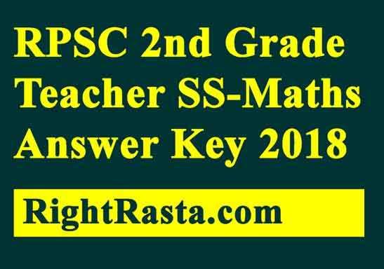 RPSC 2nd Grade Teacher SS-Maths Answer Key 2018