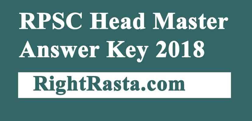RPSC Headmaster Answer Key 2018