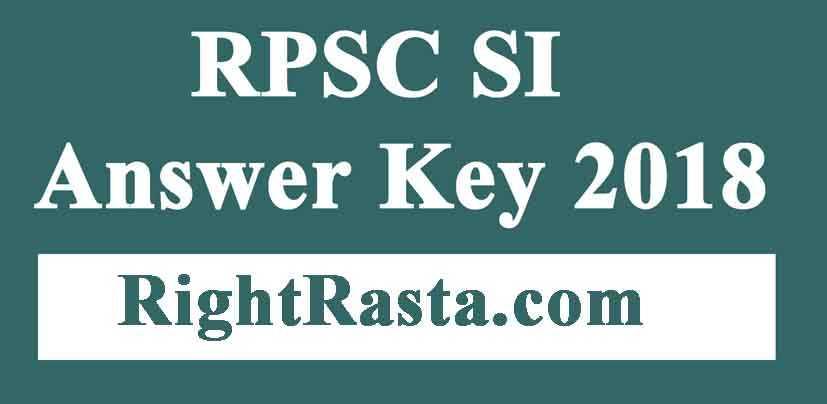 RPSC SI Answer Key 2018
