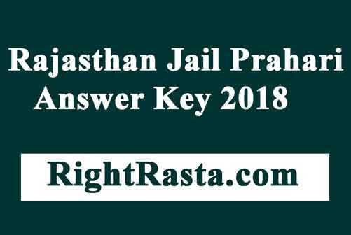 Rajasthan Jail Prahari Answer Key 2018
