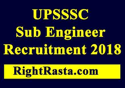 UPSSSC Sub Engineer Recruitment 2018