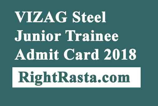 VIZAG Steel Junior Trainee Admit Card 2018