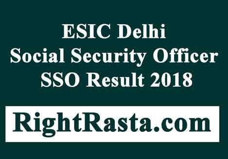 ESIC SSO Pre Result 2018