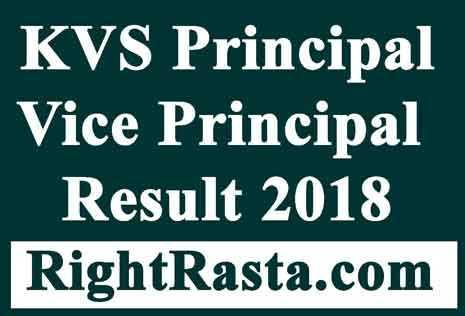 KVS Principal Result 2018