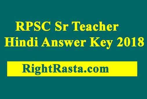RPSC Sr Teacher Hindi Answer Key 2018