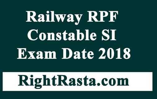 Railway RPF Constable SI Exam Date 2018