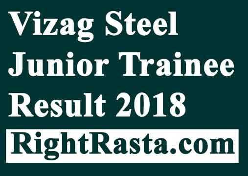 Vizag Steel Junior Trainee Result 2018