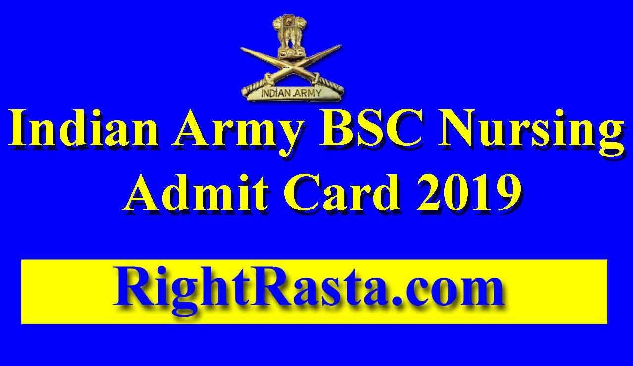 Indian Army BSC Nursing Admit Card 2019