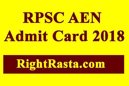 RPSC AEN Admit Card 2018