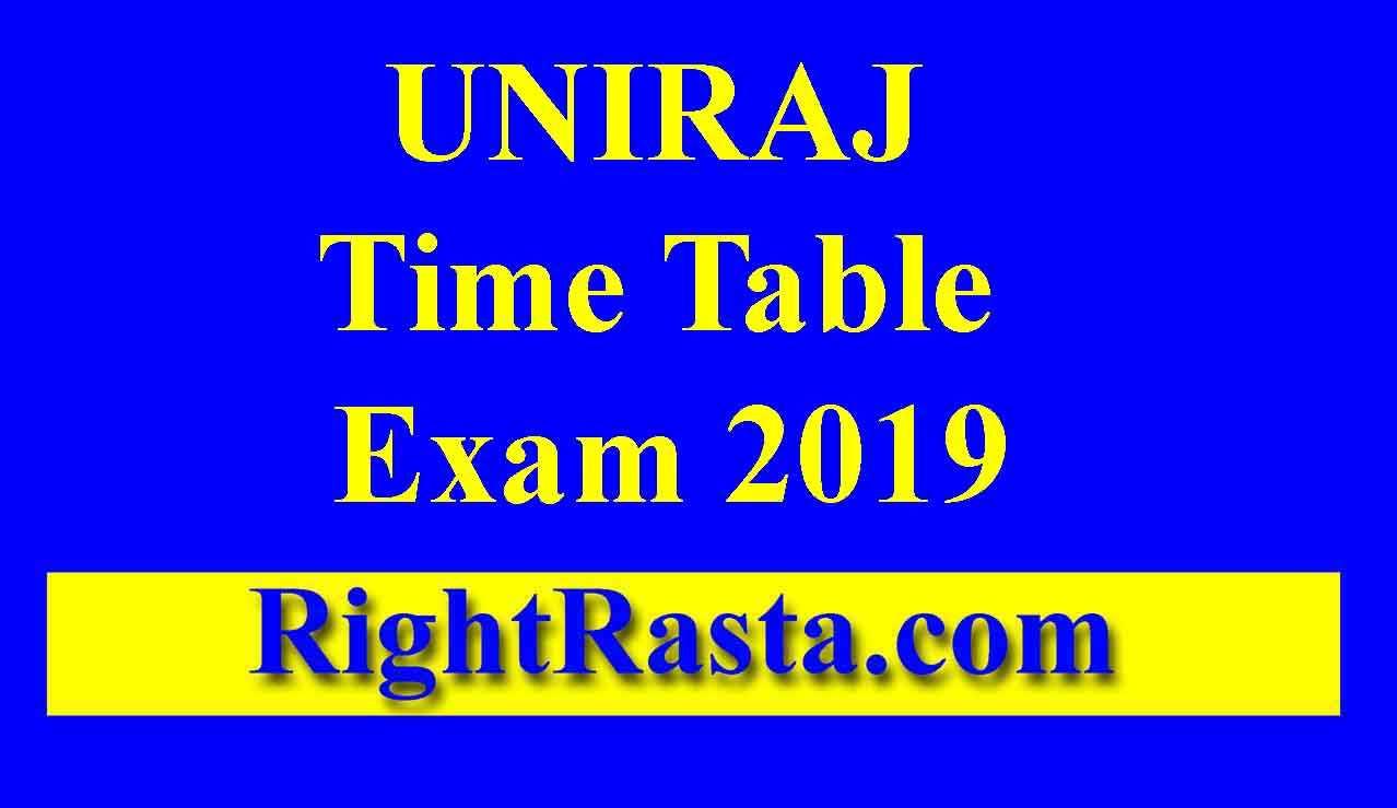 UNIRAJ Time Table Exam 2019