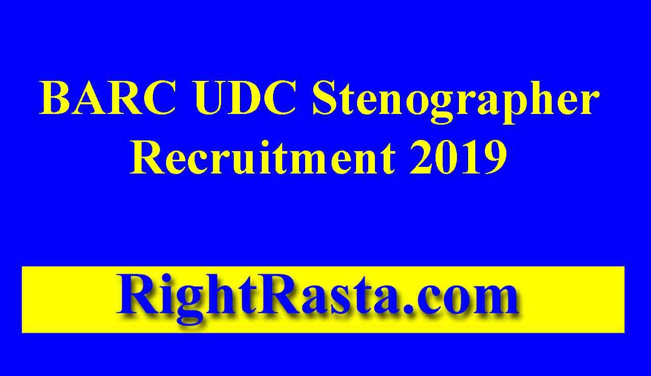 BARC UDC Stenographer Recruitment 2019