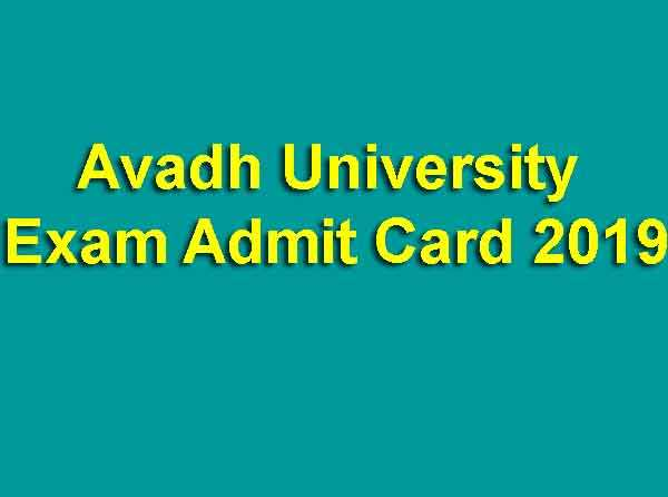 Avadh University Exam Admit Card 2019
