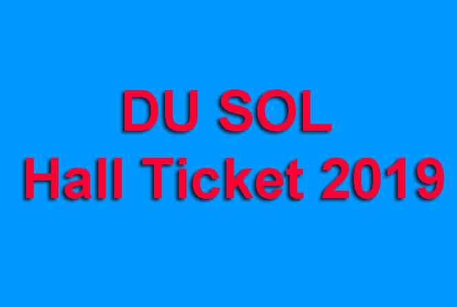 DU SOL Hall Ticket 2019
