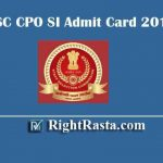 SSC CPO SI Admit Card 2019 -NR & Other All Regions