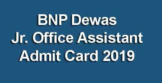 BNP Dewas Jr. Office Assistant Admit Card 2019