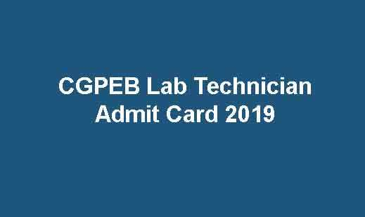 CGPEB Lab Technician Admit Card 2019
