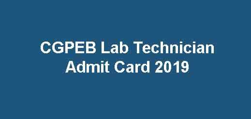 CGPEB Lab Technician Admit Card
