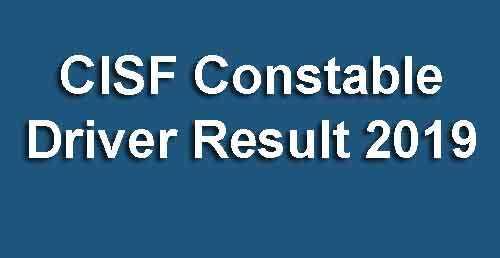 CISF Driver Result 2019