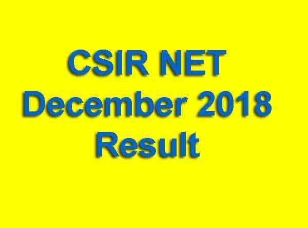 CSIR NET December 2018 Result
