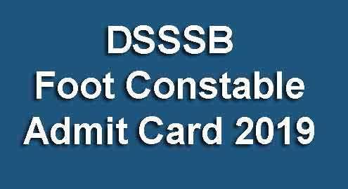 DSSSB Foot Constable Admit Card