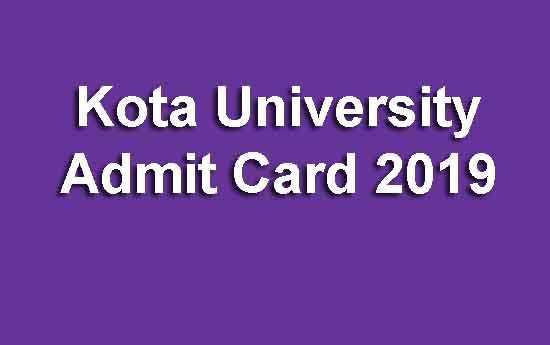 Kota University Admit Card 2019