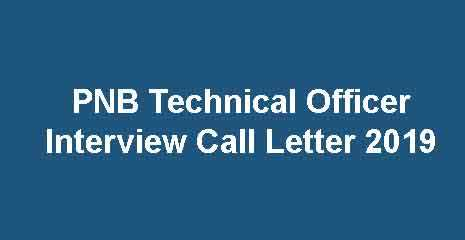 PNB Technical Officer Interview Call Letter