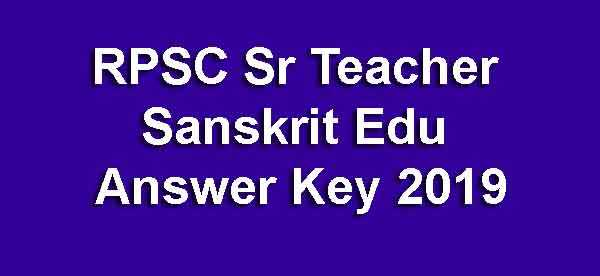 RPSC Sr Teacher Sanskrit Edu Answer Key Second Grade Teacher