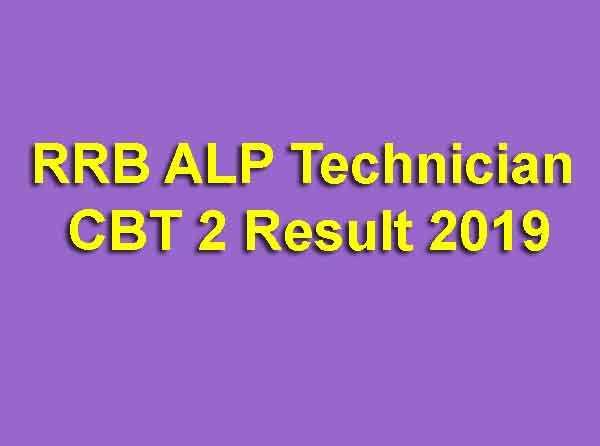 RRB ALP Technician CBT 2 Result 2019