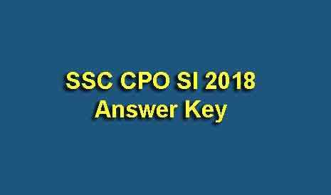 SSC CPO SI 2018 Answer Key