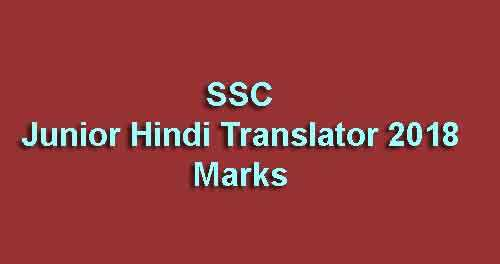 SSC Junior Hindi Translator 2018 Marks