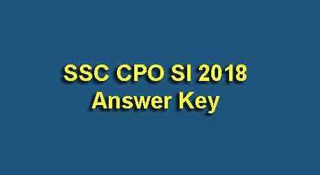 SSC Sub Inspector 2018 Answer Key
