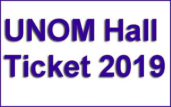 UNOM Hall Ticket 2019