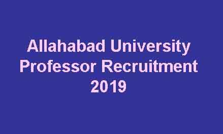 Allahabad University Professor Recruitment 2019