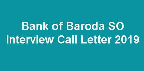 Bank of Baroda SO Interview Admit Card