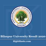 Bilaspur University Result 2020 (Out) - Atal Bihari Vajpayee Vishwavidyalaya (ATBVV) BU Results