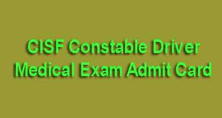 CISF Driver Medical Admit Card